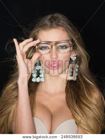 Image Of Sexy Woman In A Bra With Glasses. The Concept Of Eroticism In Everyday Life, Female Attract