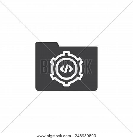 Folder Settings Vector Icon. Filled Flat Sign For Mobile Concept And Web Design. Coding Folder Simpl