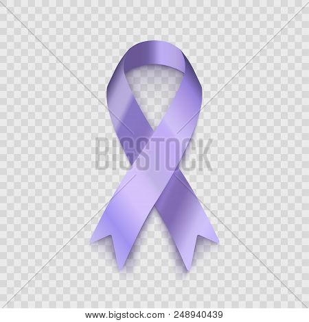 Stock Vector Illustration Lavender Ribbon Isolated On Transparent Background. The Problem Of Epileps