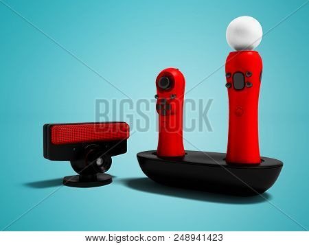 Modern Red Joysticks Navigational And Black Camera For Game Console 3d Render On Blue Background Wit