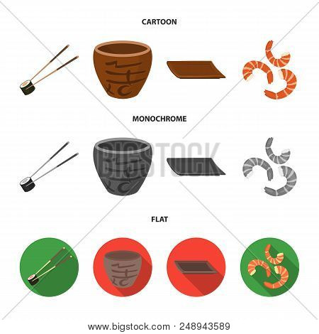 Sticks, Shrimp, Substrate, Bowl.sushi Set Collection Icons In Cartoon, Flat, Monochrome Style Vector