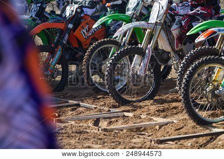 City Rauna, Latvia. Motorcross Training, Hobby, Peoples Drive With Motorcycle. Sunny Spring.travel P