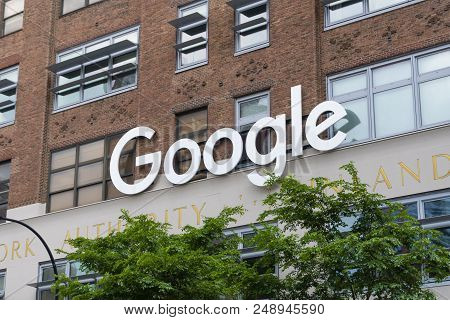 New York, New York. - May 27, 2017: Google Sign Outside The Google Office In New York City. It Is A