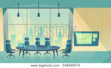 Vector Conference Hall For Business Seminar, Working Process. Room For Shareholders In Skyscraper, U