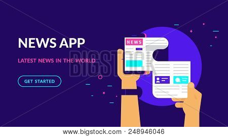 Online Reading Latest News. Flat Vector Neon Website Template And Landing Page Design Of Online Read