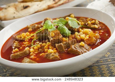 North Indian Lamb Curry With Channa Dahl, A Delicious Savoury Curry Cooked In The Style Of Northern