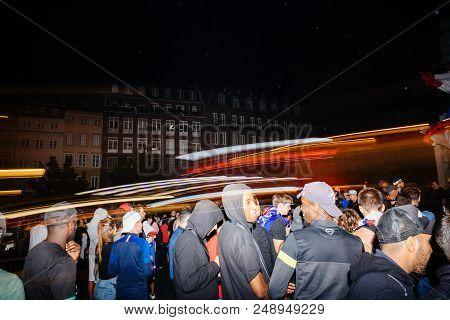 Strasbourg, France - July 10, 2018: Lightrails Over Happy Ambiance On Central Place Kleber After The