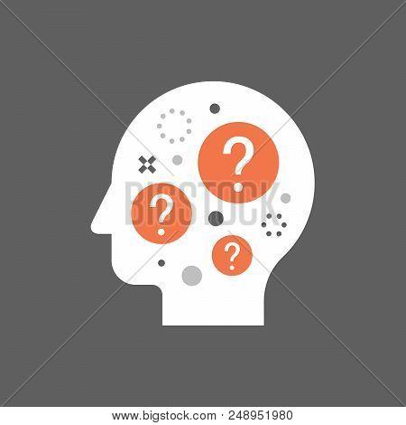 Decision making, difficult choice, moral dilemma, philosophy thinker, behavior science, brainstorm concept, neurology, vector illustration poster