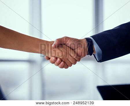 Businessman And Businesswoman Shake Hands On Agreement. Businees Deal Concept, Partners Concluding A