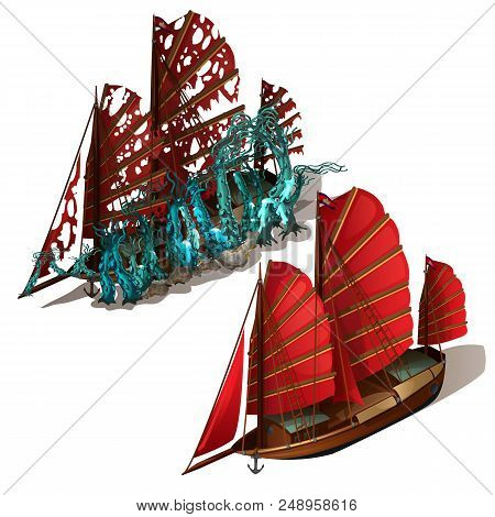 Beautiful Old Sailboat With Red Sails Isolated On A White Background. Ship After Shipwreck Is Overgr