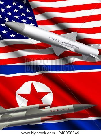 Missile With Nuclear Weapon Or Mass Destruction On Background Of United States Of America And North