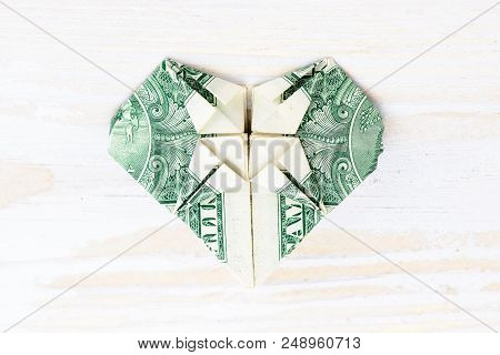 Easy Money Origami Heart Folding Instructions - How to Make Dollar ... | 320x450