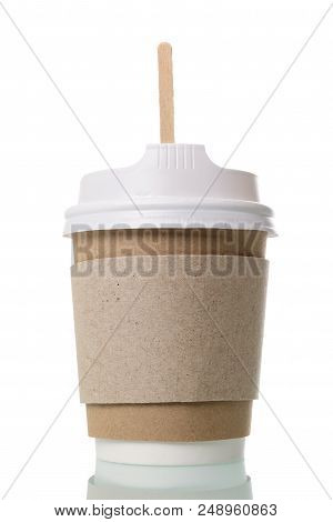 Special Container With Lid And Wooden Spoon For Coffee Take-away, Isolated On White Background