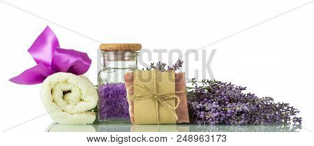 Sea Salt With Lavender Scent, Handmade Soap And Towel Isolated On White Background