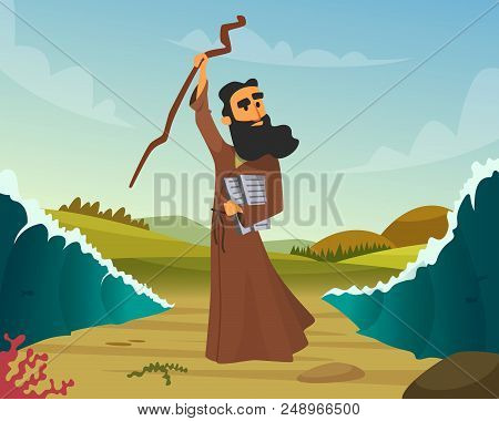 Vector Historical Illustration Of Biblical Story. Miracle Religion, Moses And Sea Wave