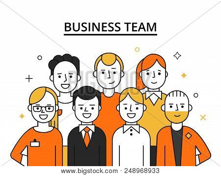 Stylized Illustrations Of Business Team. Concept Picture Of Successful Peoples. People Success, Team