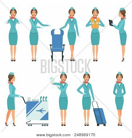Stewardess Characters. Various Mascots In Action Poses. Airport And Flight Workers. Flight Airline H