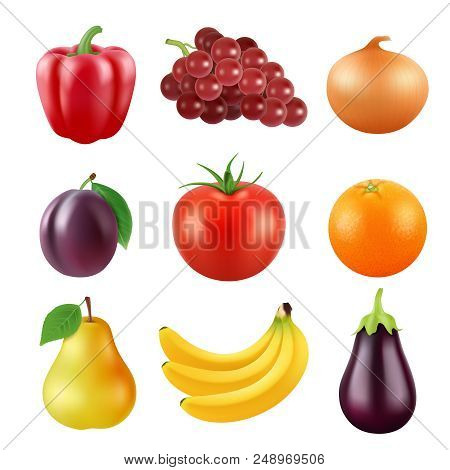 Realistic Vector Pictures Of Fresh Fruits And Vegetables. Fruit Food And Vegetable, Orange And Plum,