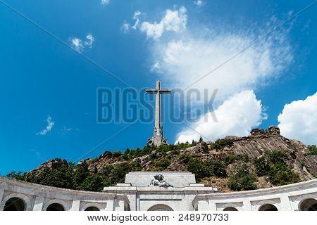 San Lorenzo De El Escorial, Spain - July 7, 2018: Outdoor View Of The Valle De Los Caidos Or Valley