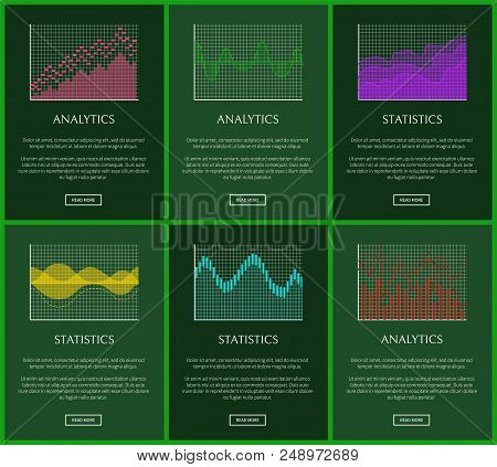Statistics Plots And Analytics Graphs Vector Cards, Illustration With Green Frames, Analytics Data,