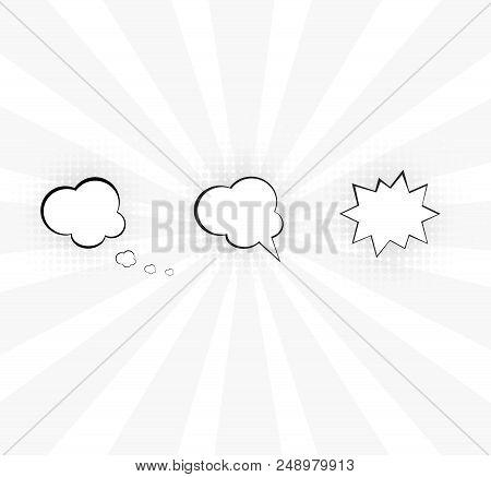 Comic Vector Speech Box. Speech Bubble Mockup. Dialog For Comic With White Fone