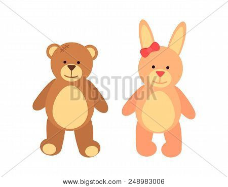Toys Set Teddy Bear And Rabbit, Toys Created For Children, Bunny With Long Ears And Bow On It, Smili