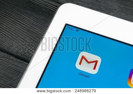 Sankt-petersburg, Russia, July 6, 2018: Google Gmail Application Icon On Apple Ipad Pro Smartphone S