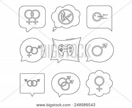 No Smoking, Family Planning And Game Joystick Icons. Male, Female And Couple Linear Signs. Gay, Lesb