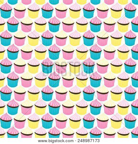 Cupcakes Seamless Retro Style Pattern. Stock Vector