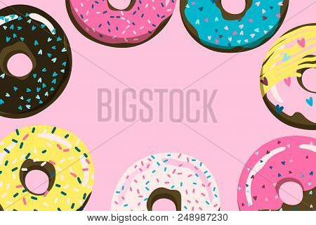Donuts Pink Background For Cover, Postcard, Banner Etc. Stock Vector