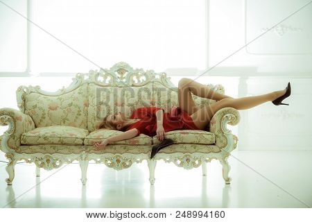 Relax After Working Day. Woman Relax On Sofa. Time To Relax Moment For Sexy Woman. Relax At Home, Co