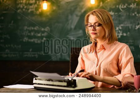 Writing A Story. Writing Is My Vocation. Woman Writing Her Resume On Typewriter.