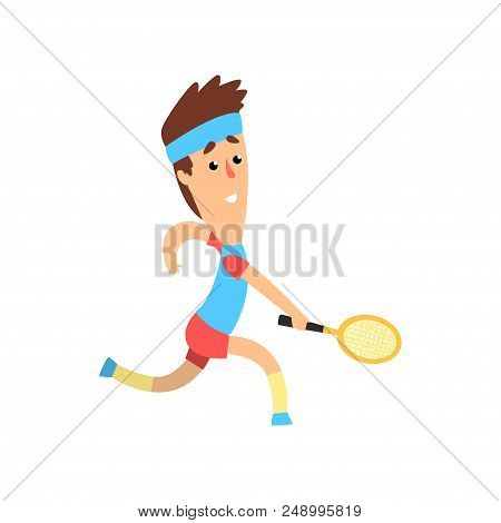 Funny Guy With Racket In Hand Running Forward To Hit The Ball. Cartoon Man Character Taking Part In