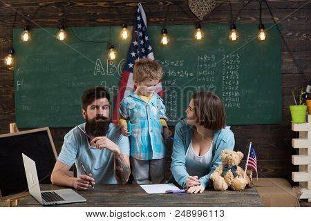 Learning Concept. Little Boy Enjoy Learning At Home With Family. Learning And Development. We Focus