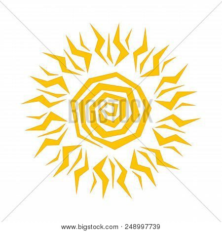 The Sun Shines Brightly, The Rays Of The Sun, The Yellow Sun In A Flat Style, Sunny Day, Weather For