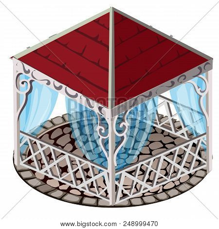 Forged Gazebo With Red Roof, Blue Lace Curtains, And Floors Paved With Cobblestones, Isolated On Whi