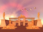 A flock of Sacred Ibis birds fly over an Egyptian palace and its entrance lined with Ram God Khnum statues. poster