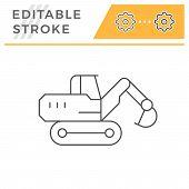 Crawler excavator line icon isolated on white. Editable stroke. Vector illustration poster