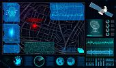 Search and Track a Person From Space in the Style of HUD. Search and Recognition on the Map and Demonstration on The Map. Tracking the Program for Espionage. Spyware In HUD Style. Vector Illustration poster