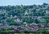 Heat haze provides an abstract look to the homes on South Side Slopes in Pittsburgh PA poster