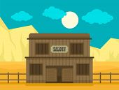 Western saloon concept background. Flat illustration of western saloon vector concept background for web design poster