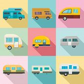 Motorhome car trailer camp house icons set. Flat illustration of 9 motorhome car trailer camp house vector icons for web poster
