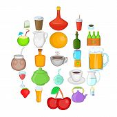Boozing icons set. Cartoon set of 25 boozing vector icons for web isolated on white background poster
