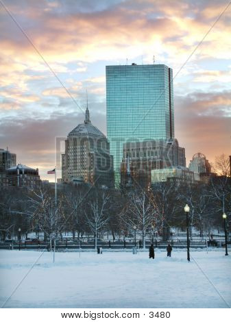 Boston Skyline In Winter