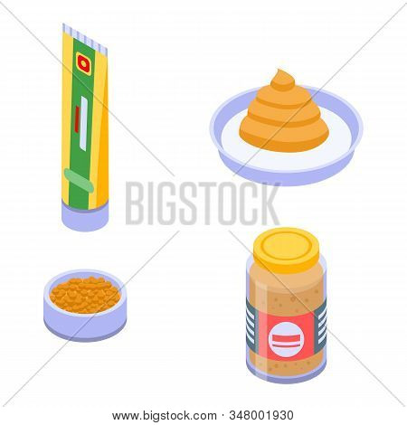 Mustard Icons Set. Isometric Set Of Mustard Vector Icons For Web Design Isolated On White Background