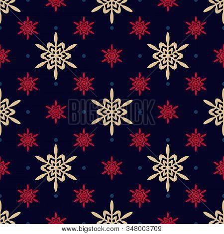 Golden Geometric Snowflakes Pattern. Luxury Vector Christmas Seamless Texture With Gold, Red Snowfla