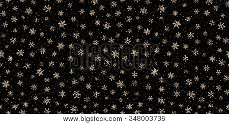 Golden Snowflakes Background . Luxury Vector Christmas Seamless Pattern With Small Gold Snow Flakes