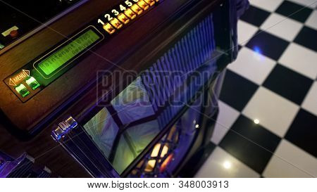 Antique Music Playing Device In Retro Style Cafe, Vintage Jukebox, Old Fashion