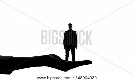 Silhouette Of Female Hand Holding Man, Womens Authority, Dominance Manipulation