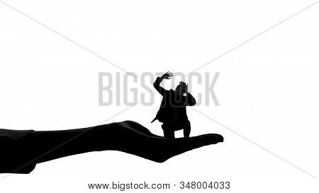 Silhouette Of Woman Hand Holding Man, Female Authority, Dominance Manipulation